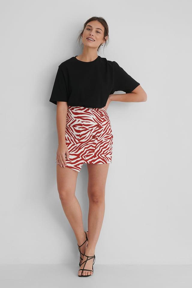 Asymmetric Mini Skirt Zebra