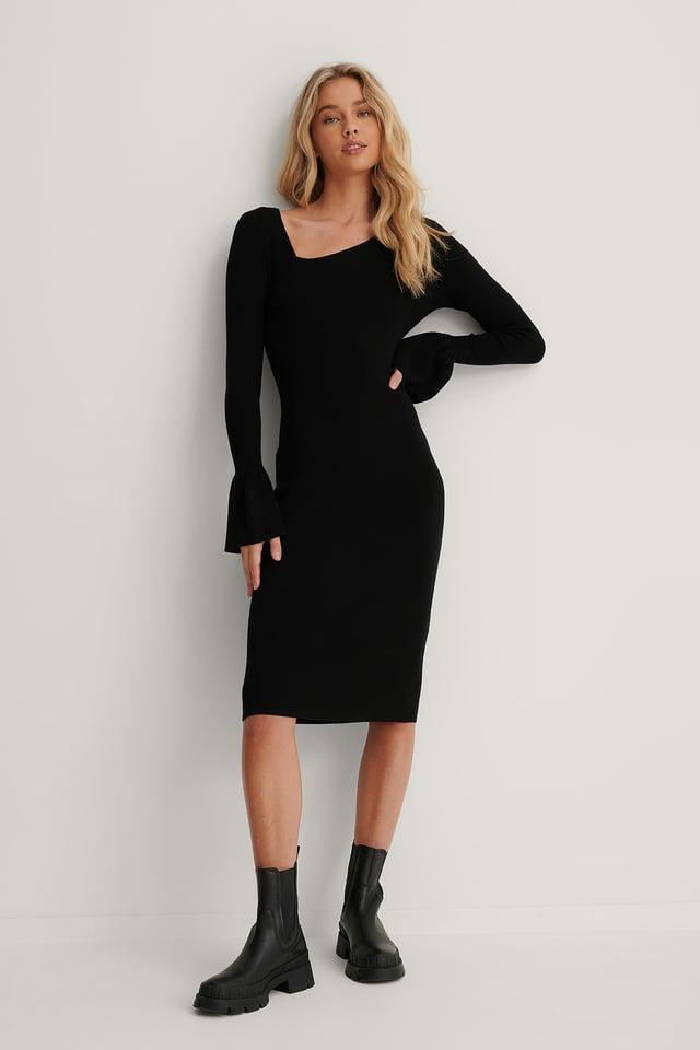 Asymmetric Neck Midi Ribbed Dress Black