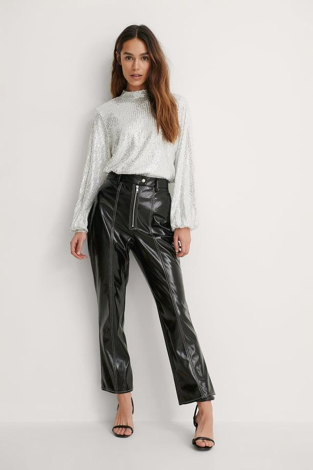Black Contrast Seam Patent Pants