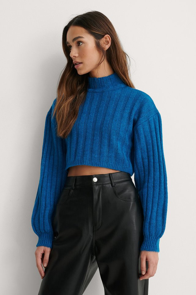 Cropped Detail Knitted Sweater Blue