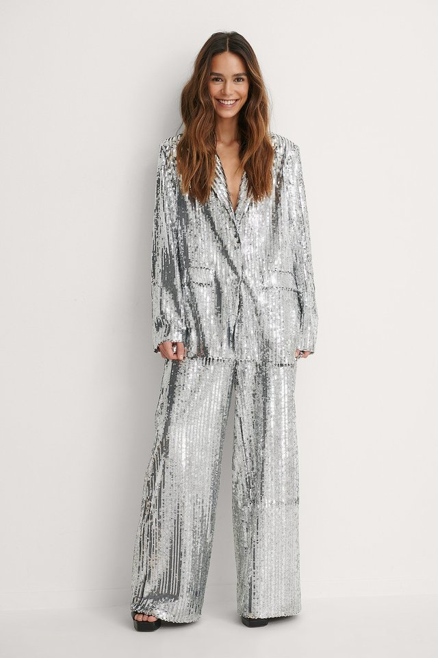 Silver Flowy Sequin Pants