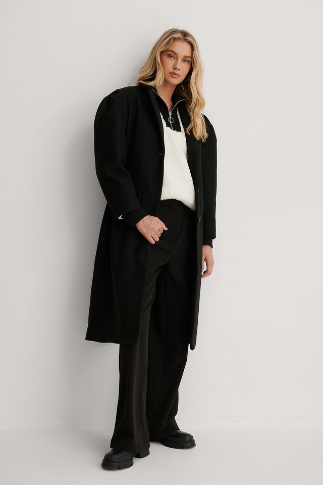 Puffy Sleeve Marked Waist Coat Black
