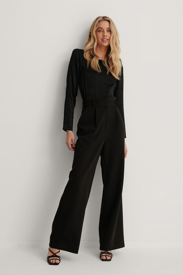 Black Highwaisted Flared Suit Pants