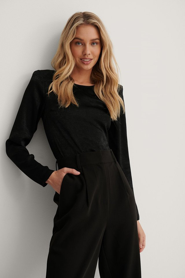 Black Marked Shoulder Satin Blouse