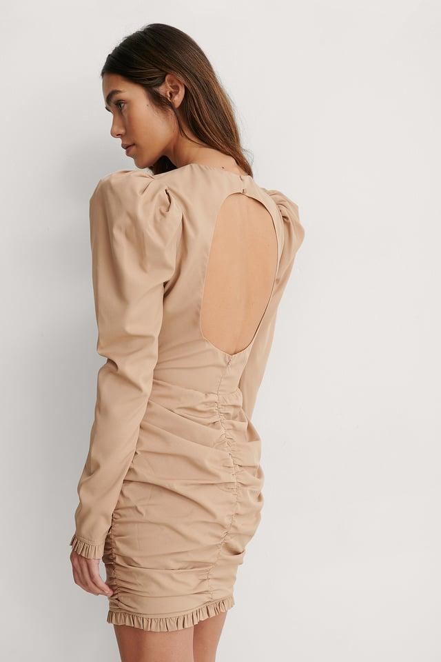 Beige Open Back Mini Dress