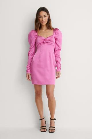 Pink Puffy Sleeve Detail Dress
