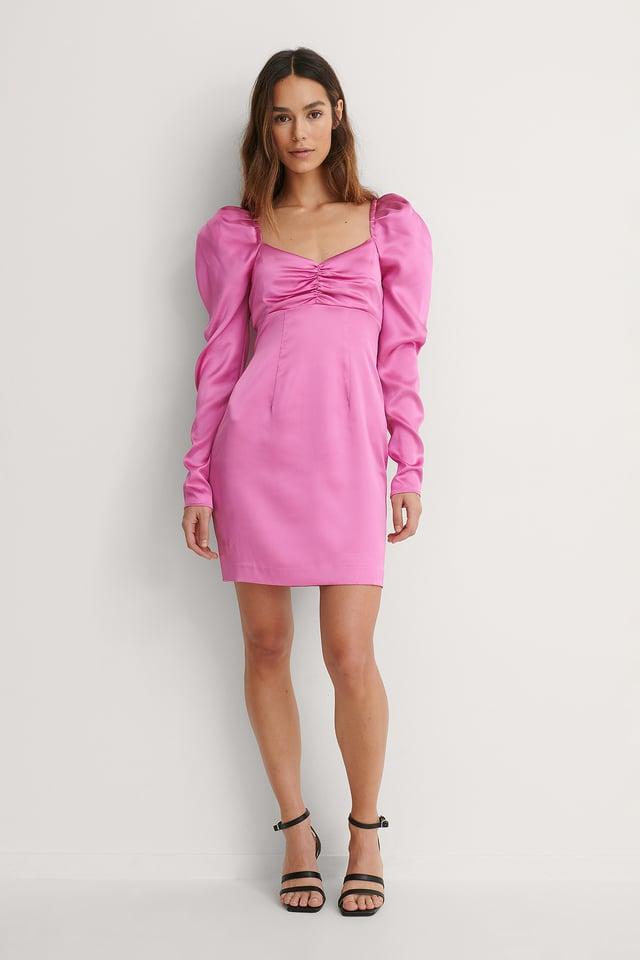 Puffy Sleeve Detail Dress Pink