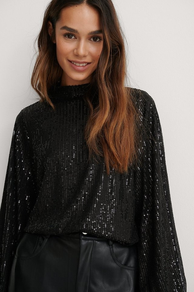 Black Sequin Blouse