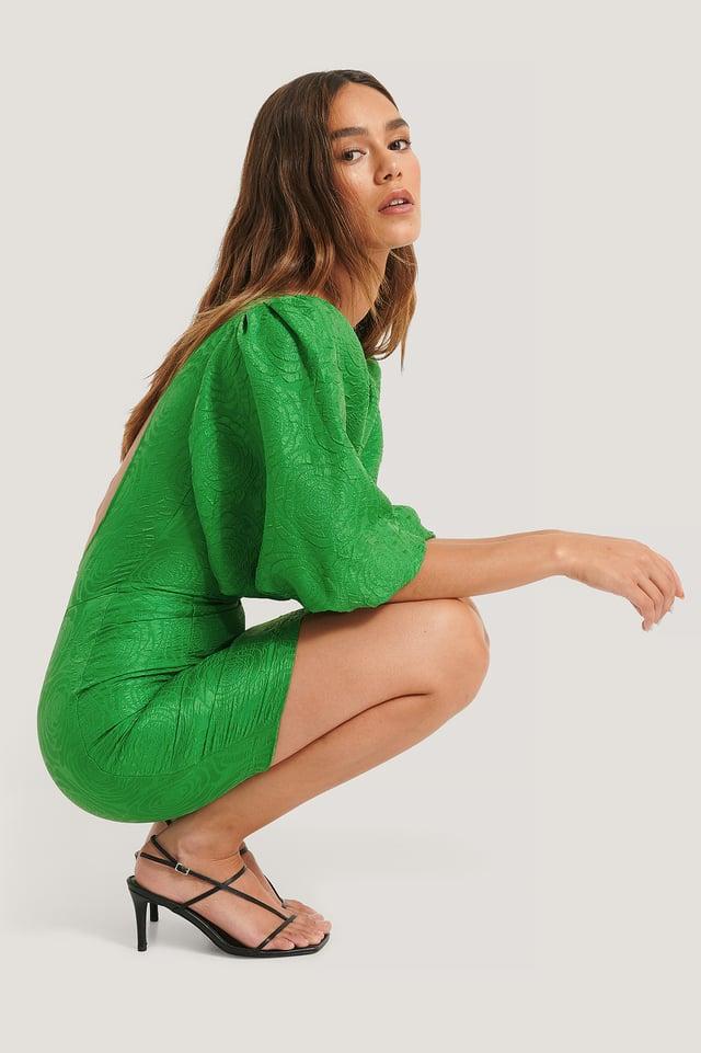 Open Back Puffy Sleeve Dress Green