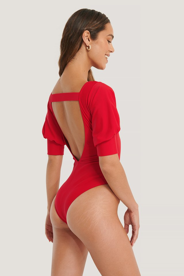 Puffy Sleeve Swimsuit Red