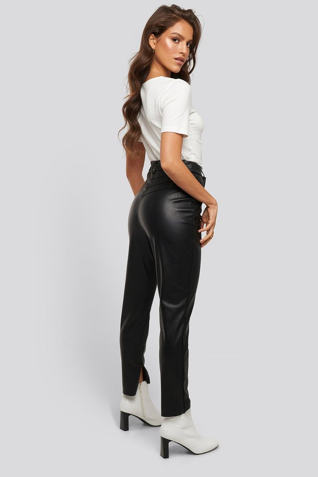 Lo Detailed PU Pants Black