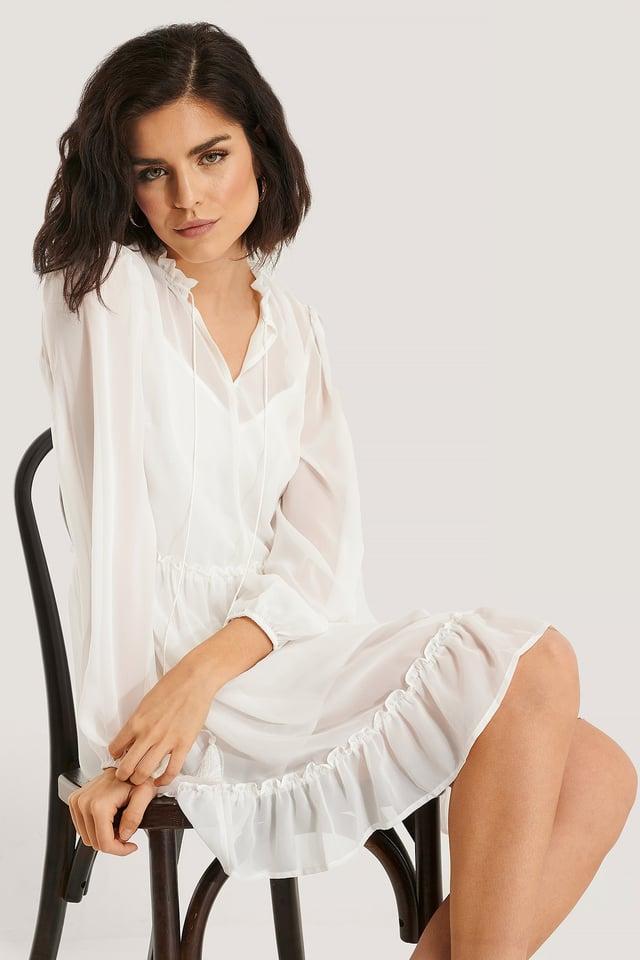 Rüschendetail Ls-Minikleid White