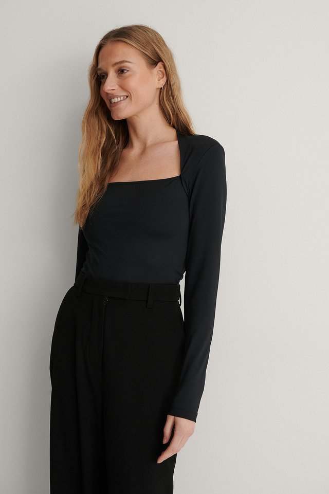 Black LS Shoulder Pad Top