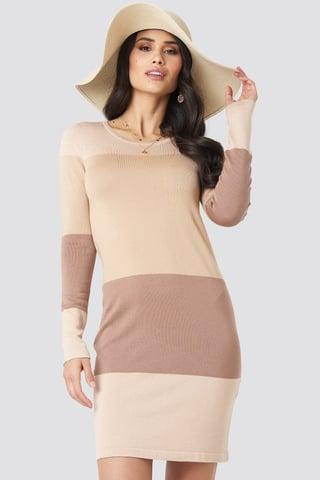 Light Beige Light Knit Blocked Dress