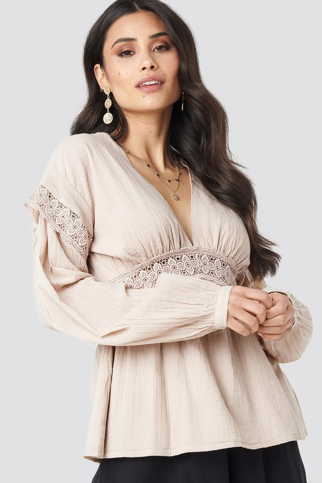 Puff Sleeve Blouse Light Beige