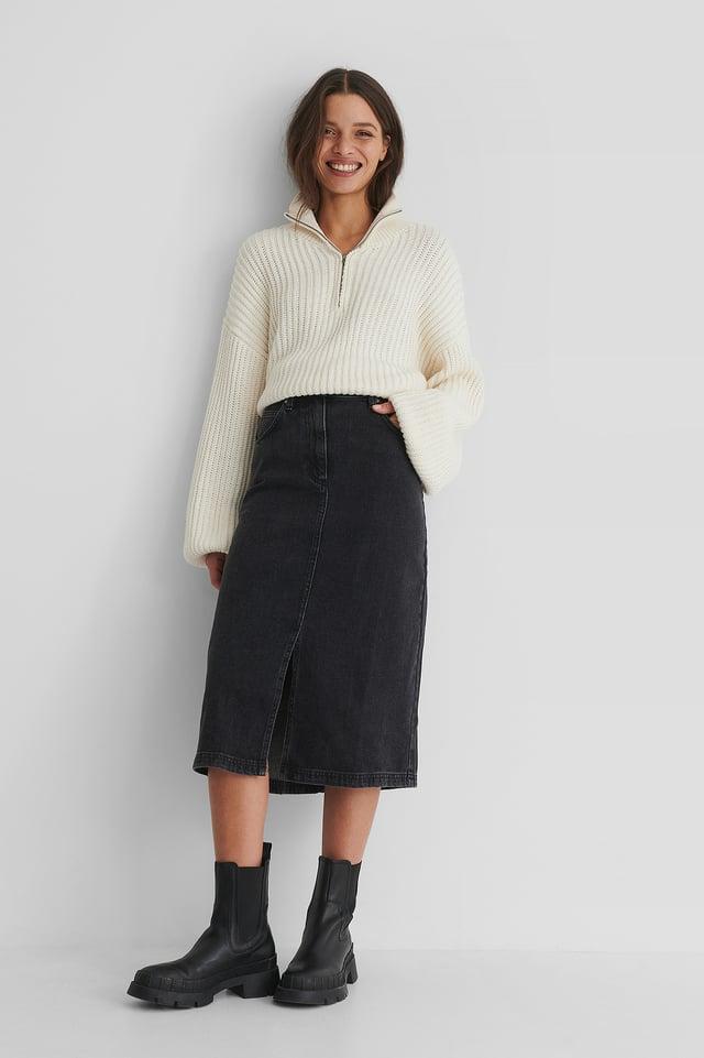 Grey Bay Denim Skirt