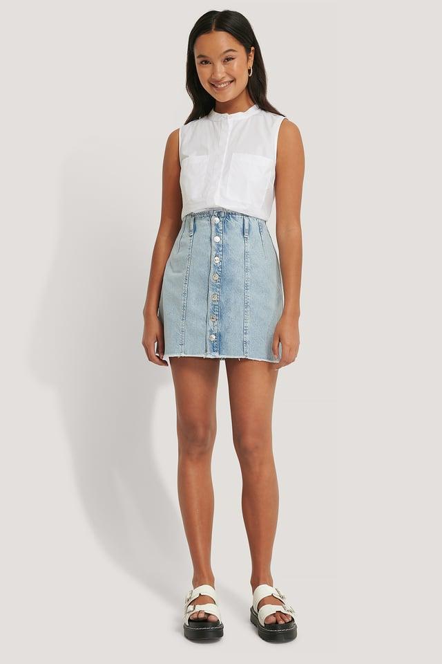 Denim Button Skirt