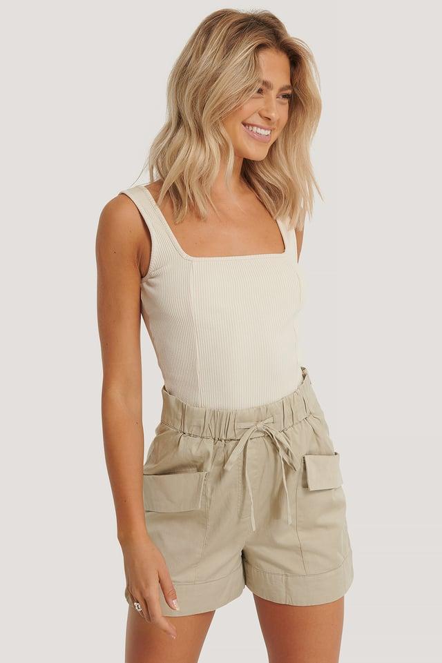 Grey Paperbag-Shorts