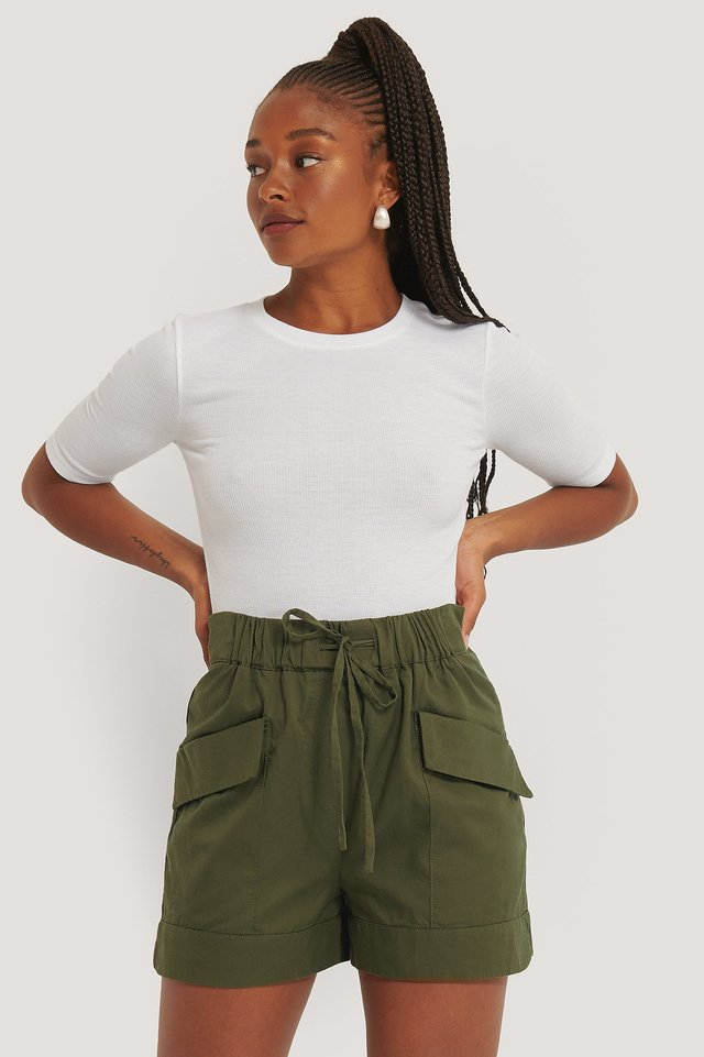 Khaki Paperbag-Shorts