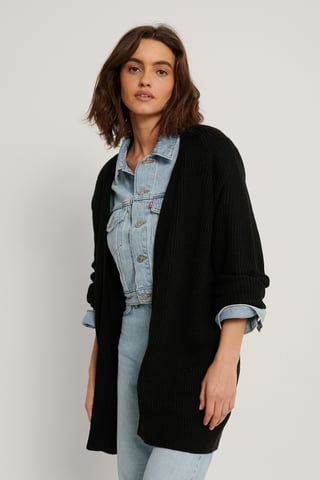 Black Stickad Cardigan