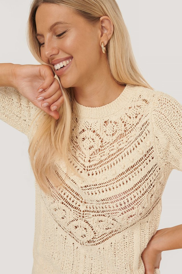 Light Beige Stickad Topp