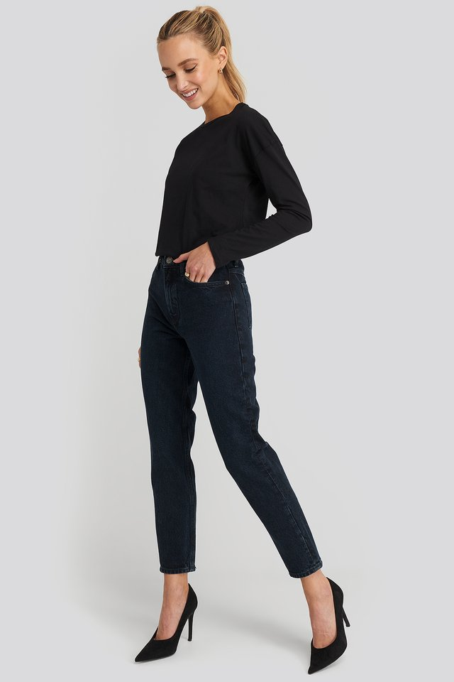 MOM80 Jeans Blue Black Denim