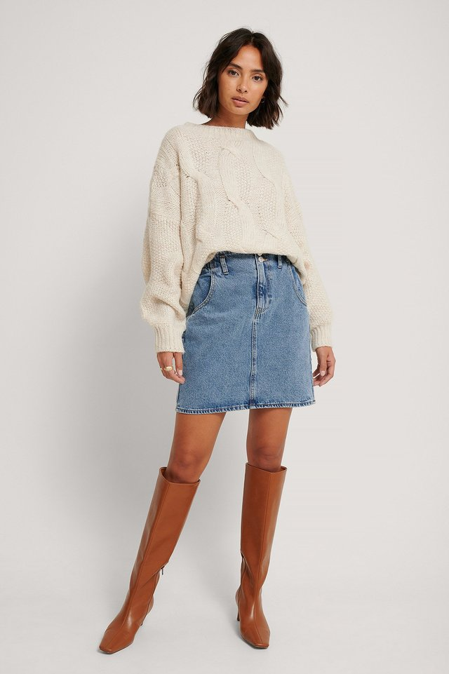 Denim Paperbag Denim Skirt