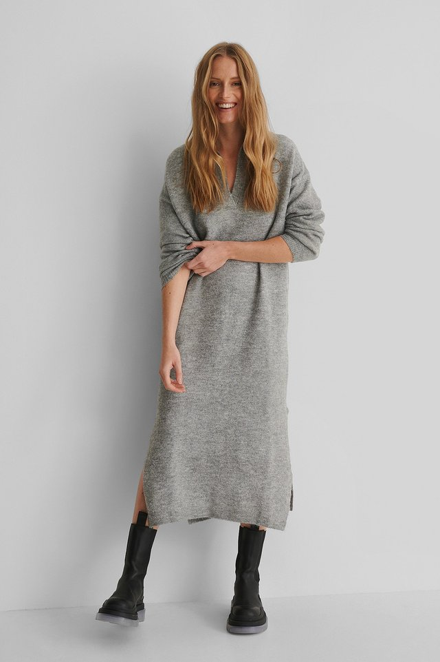 Polin Knit Dress Grey