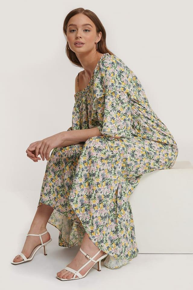Offwhite Maxiklänning Med Blommönster