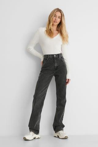 Dark Denim Jeans Med Lige Ben