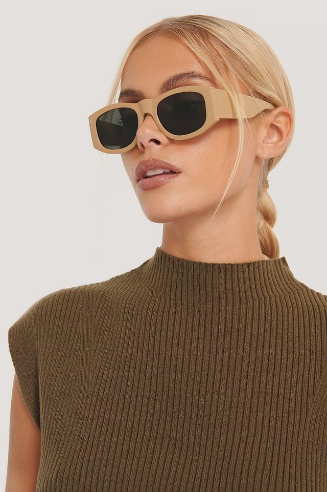 White Solbriller Med Runde Rammer