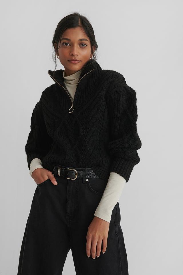 Black Zippo Sweater