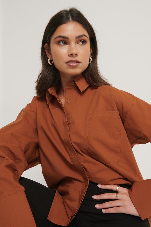 Ekologisk Oversize Skjorta Med Bröstficka Brown