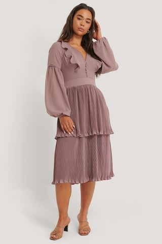 Plum Plisse Deep V-neck Dress