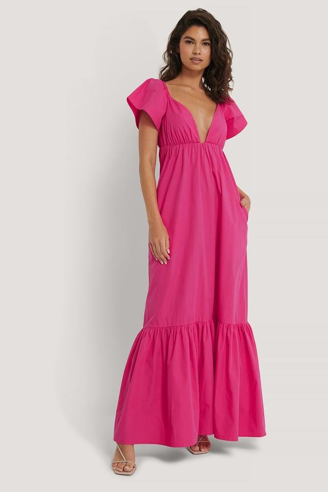 Flounce Long Dress Strong Pink