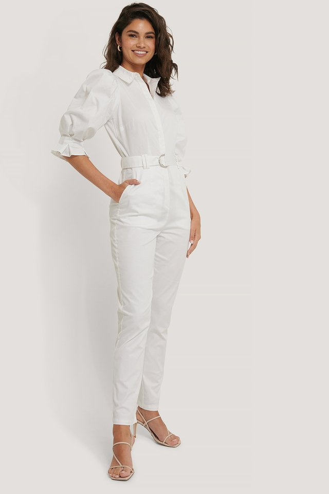 White Puff Arms Belted Jumpsuit