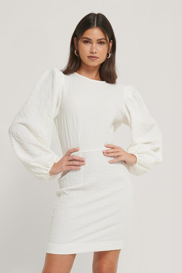 White Volume Sleeve Structured Dress