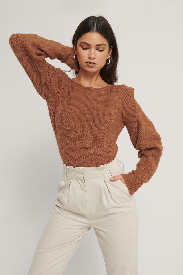 Wool Blend Volume Sleeve Knitted Sweater Cognac