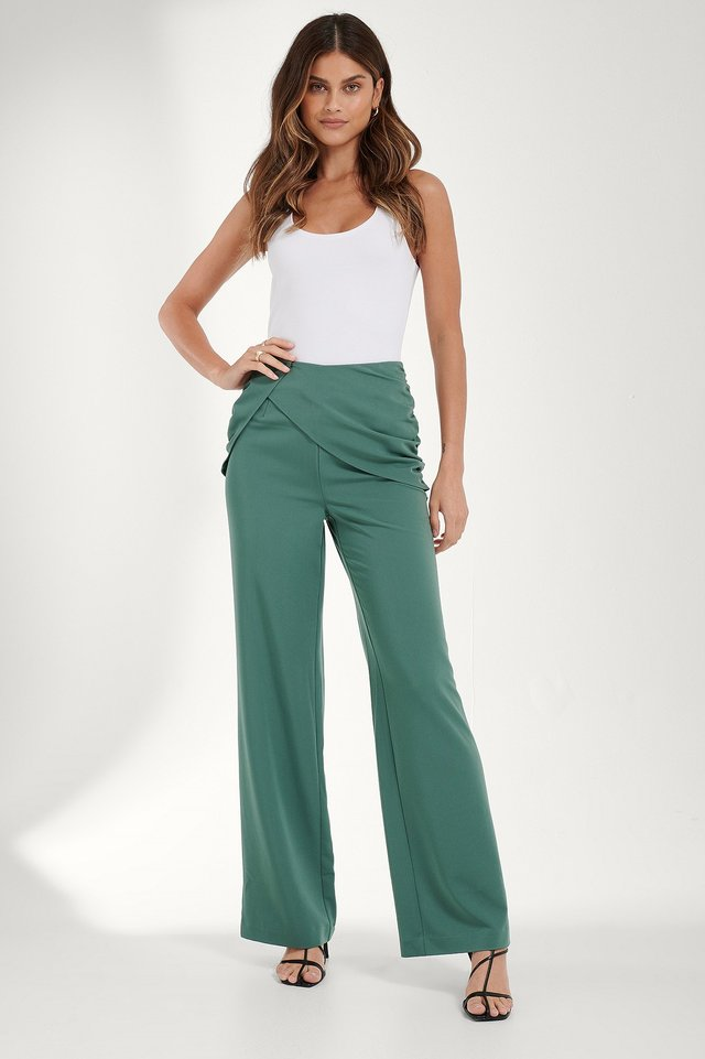 Draped Detail Pants Blue petrol