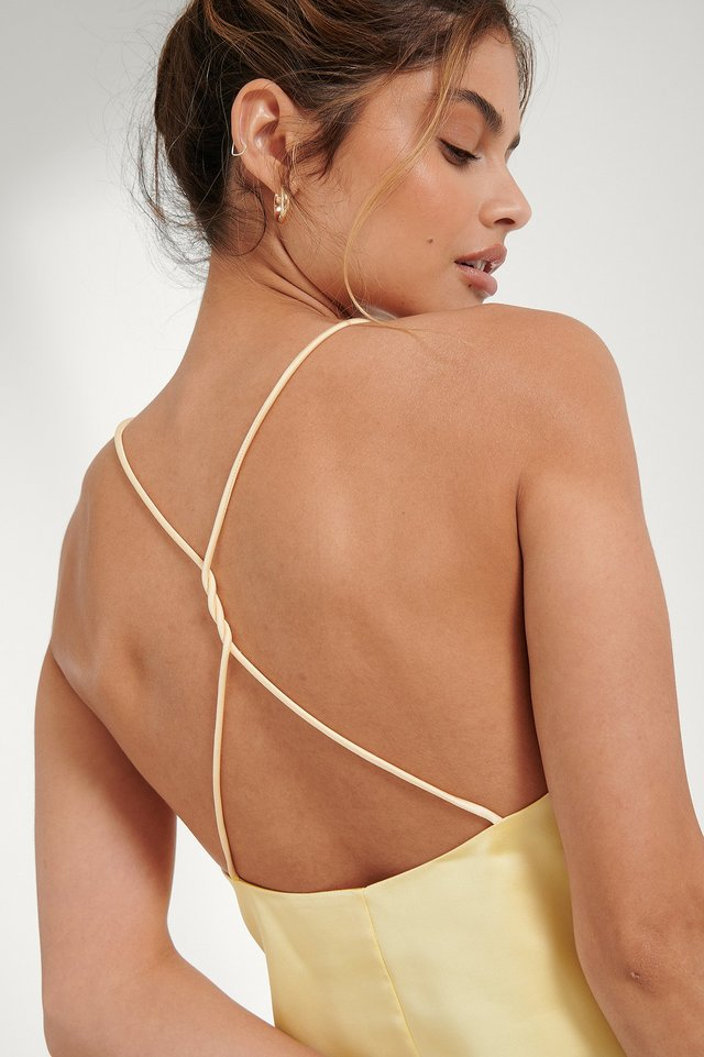 Dusty Yellow Open Back Satin Singlet
