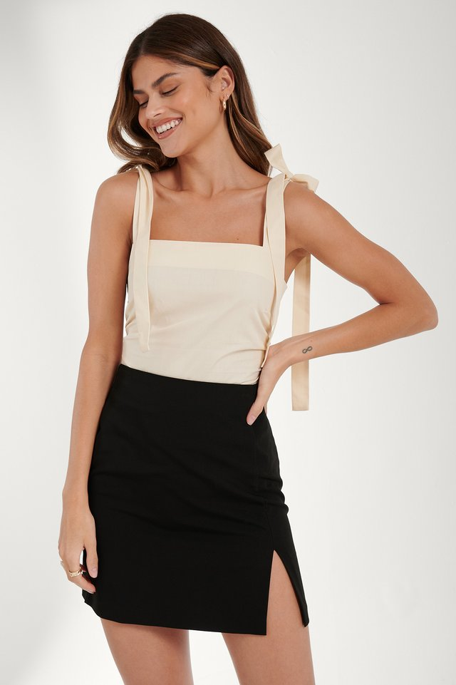 Slit Mini Skirt Black