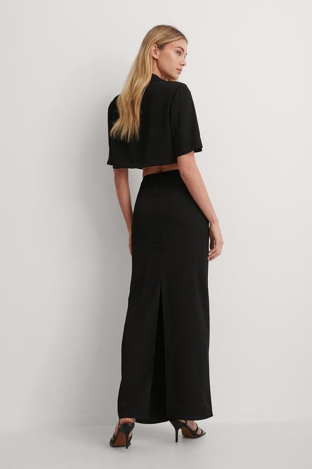 Black High Slit Maxi Skirt