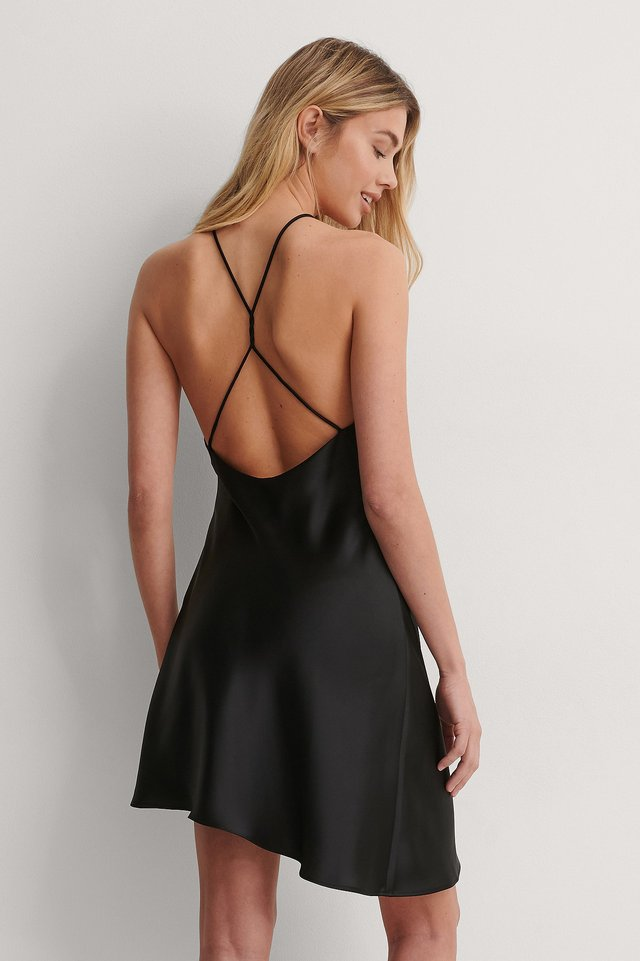 Black Open Back Satin Dress