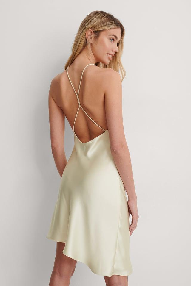 Cream Open Back Satin Dress