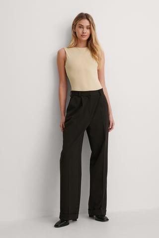 Black Pleat Suit Pants