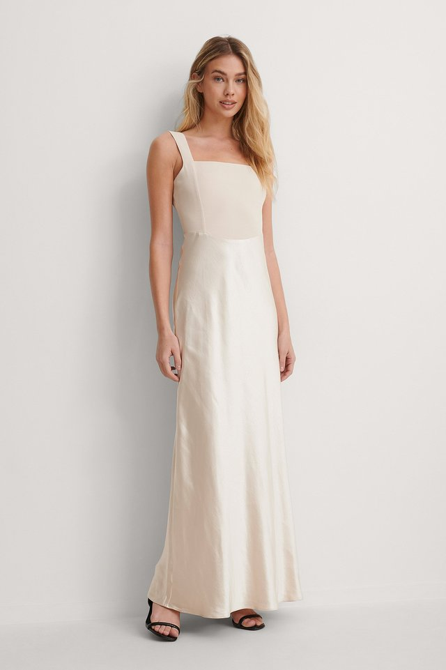 Cream Square Neck Maxi Dress