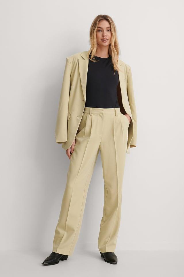 Beige Suit Pants