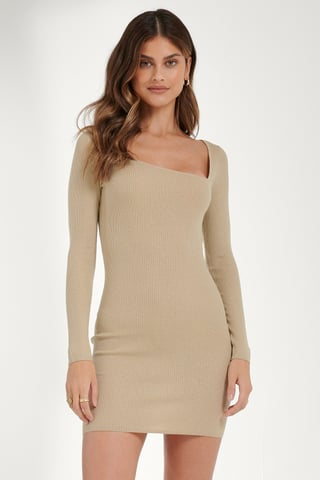 Light Beige Asymmetric Neck Dress