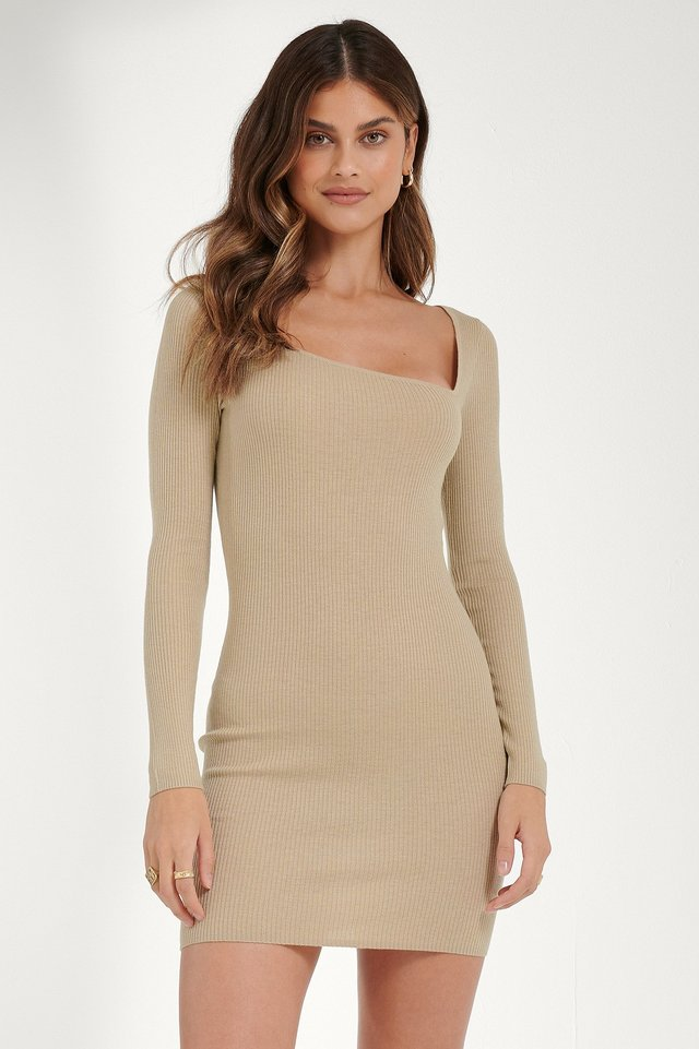 Asymmetric Neck Dress Light Beige