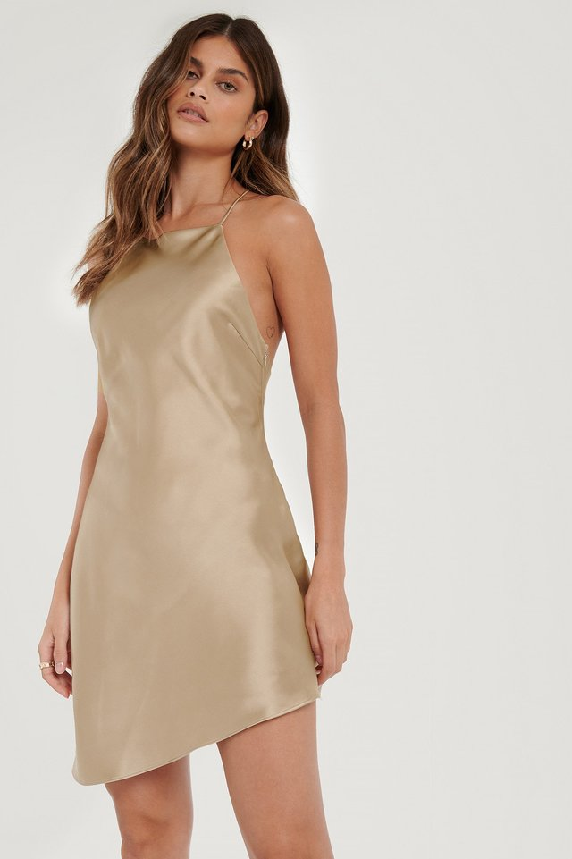Open Back Satin Dress Beige